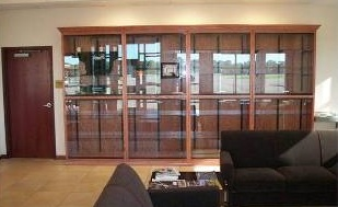 Lobby area with rentable display cases